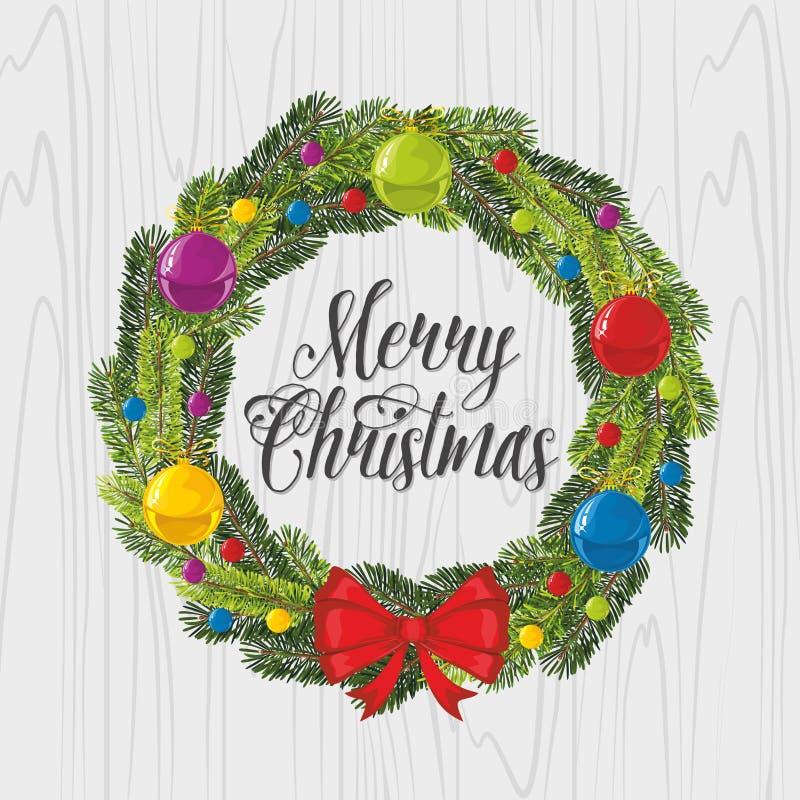 Bolas y arcos de la Navidad de la decoración de la guirnalda de la Navidad ilustración del vector