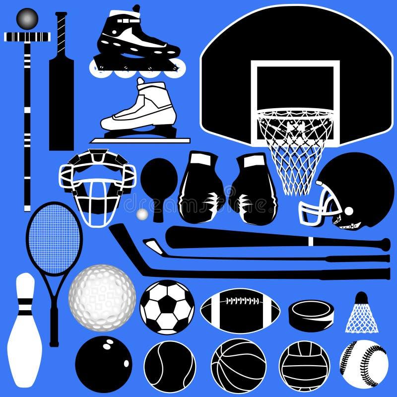 Bolas y equipo de los deportes en vector libre illustration