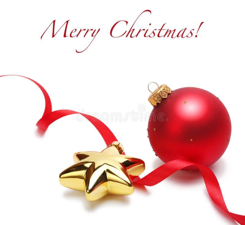 Bolas y estrella de la Navidad imagen de archivo