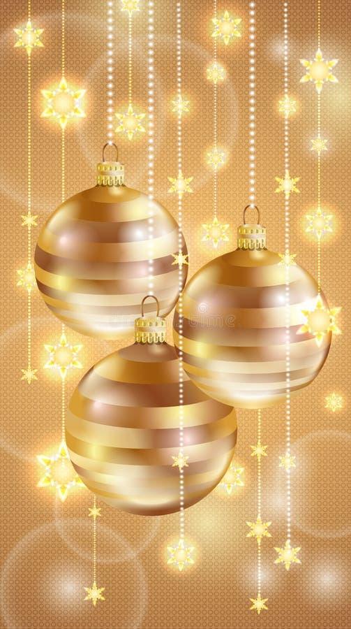 Bolas y estrellas de la Navidad del oro Tarjeta de la Feliz Navidad y de la Feliz Año Nuevo libre illustration