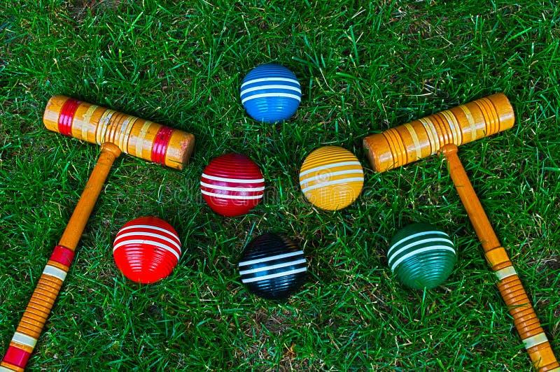 Bolas y mazos de croquet imágenes de archivo libres de regalías