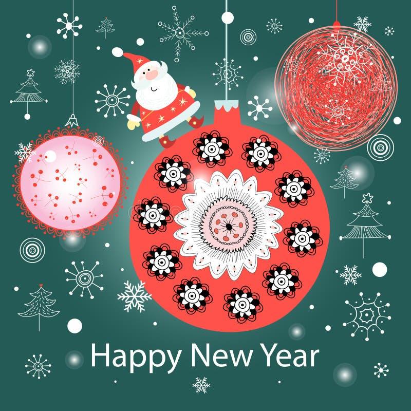 Bolas y Santa Claus coloridas de la Navidad stock de ilustración