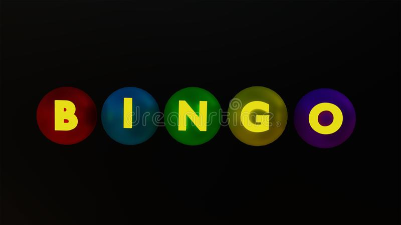 Bolas y texto del bingo representación 3d fotografía de archivo