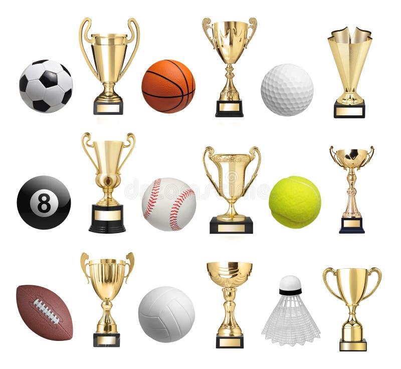 Bolas y trofeos stock de ilustración