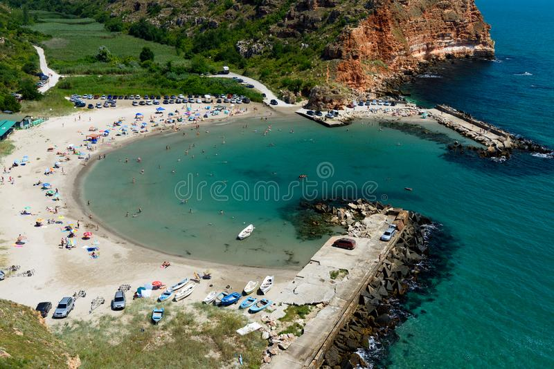 Bolata strand i sommaren, Black Sea, Bulgarien arkivbilder