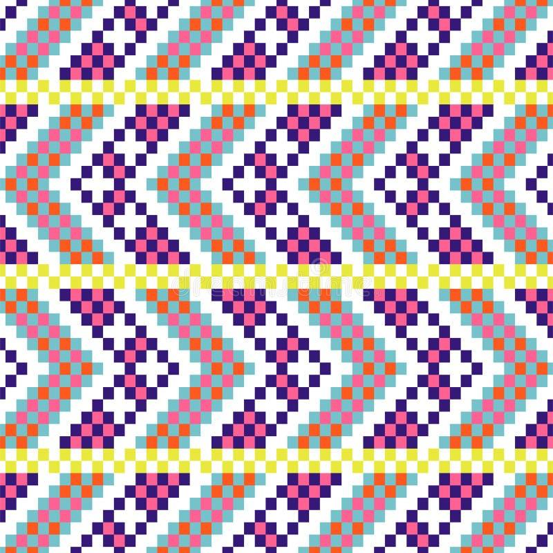 Bold arrow chevron seamless pattern pixel blocks shapes texture. stock illustration