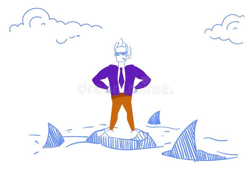 Bold businessman smoking standing rock island sea sharks around danger daring business man problem solution concept vector illustration
