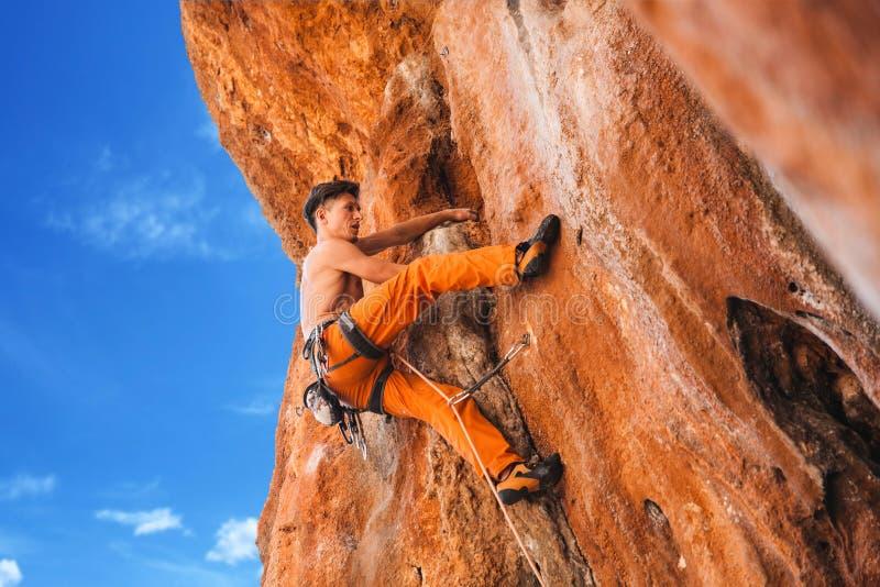 Bold choice - rock climbing stock image