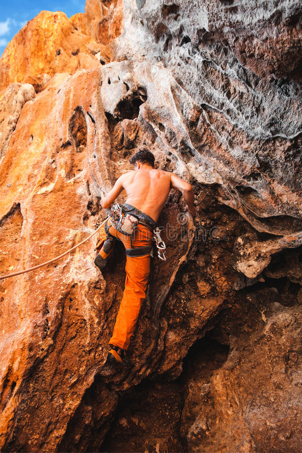 Bold choice - rock climbing royalty free stock images
