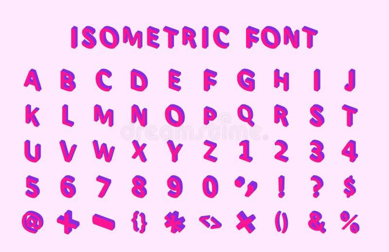 Bold colorful isometric pixel 3d font. modern bright uppercase geometric alphabet letters set. stock vector. Illustration clipart vector illustration