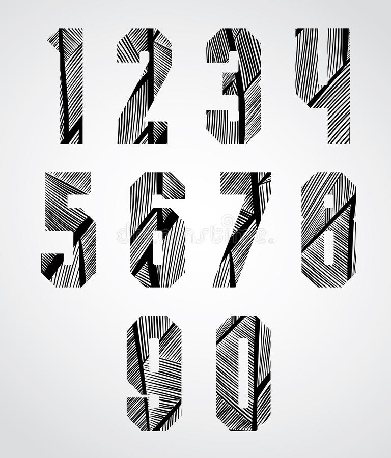 Bold condensed poster style numbers with hand drawn lines patter royalty free illustration