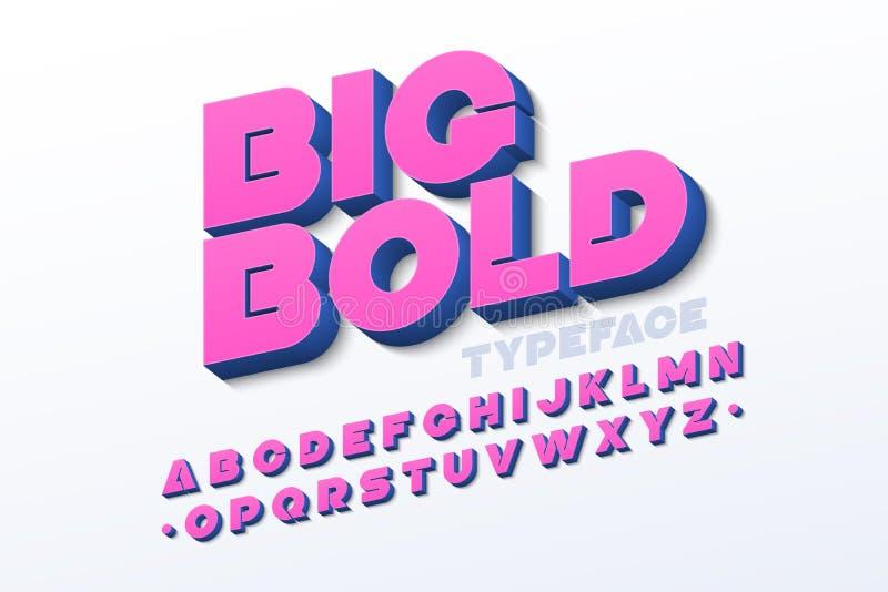 Bold 3d font. Big Bold 3d font vector illustration royalty free illustration
