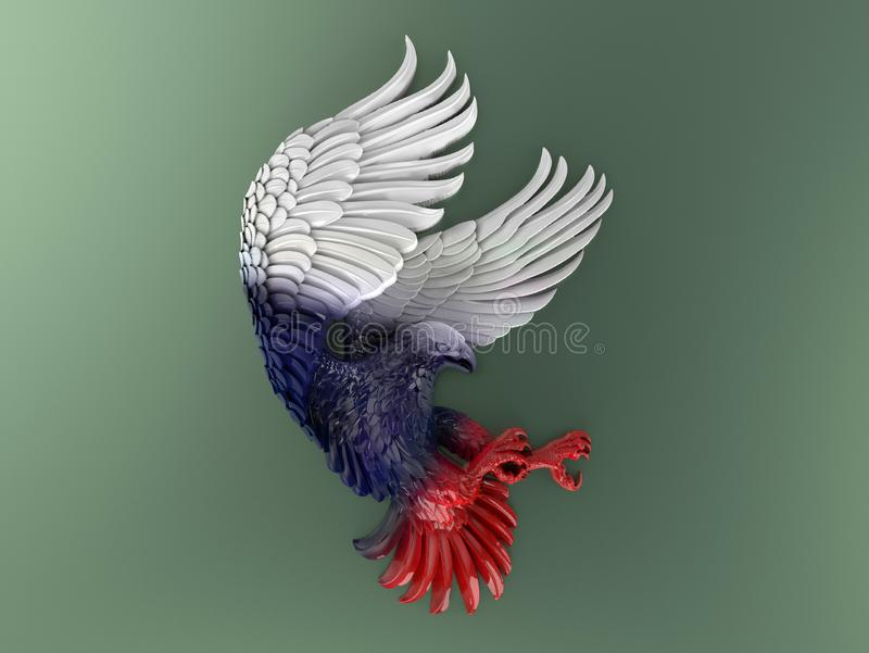 Bold Eagle colored with USA colors scheme vector illustration