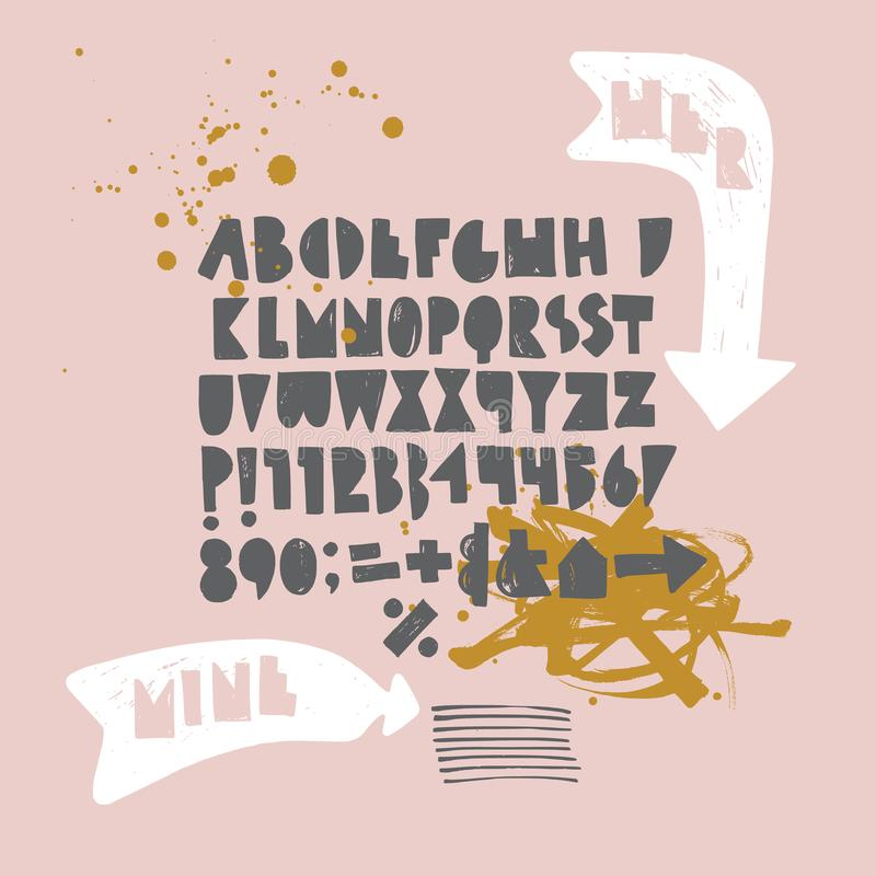 Bold geometric playful font with ink texture. Arrows and expressive blots vector illustration