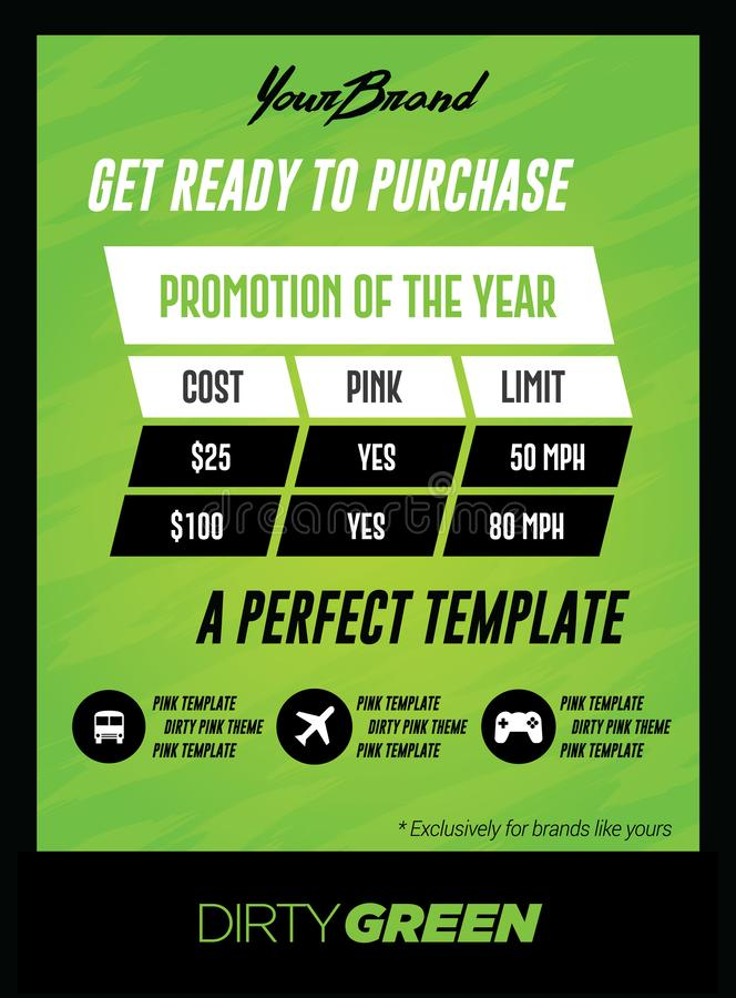 Bold Green Pricing Chart Flyer or Poster Template vector illustration