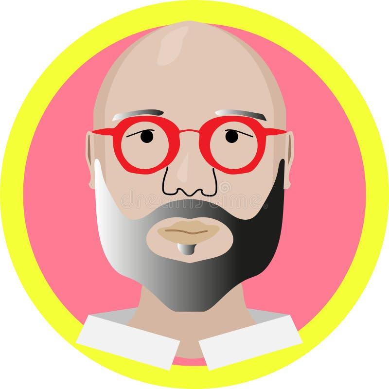 Bold guy in red glasses modern design vector illustration