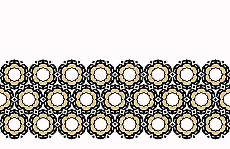 Bold hand drawn daisy flower quilt geo. Vector border pattern seamless background. Symmetry geometric abstract illustration. stock illustration