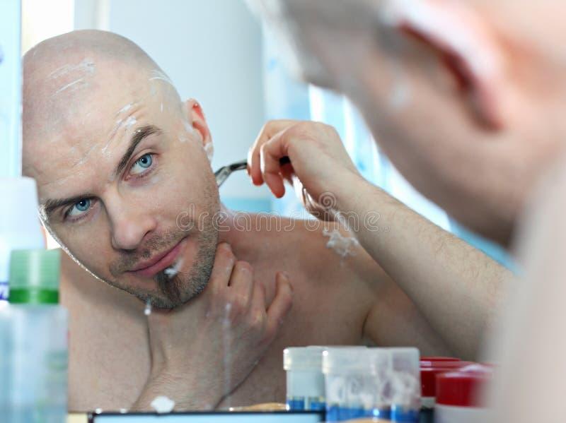 Download Bold man shaving stock image. Image of close, bathroom - 23018895