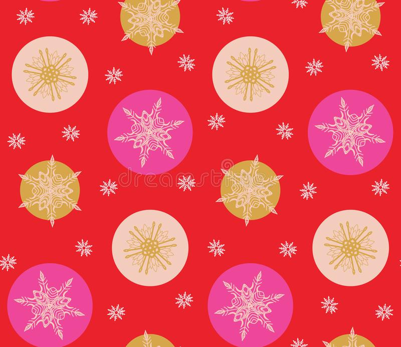 Bold pink and red modern minimal Christmas snowflakes vector seamless pattern background. vector illustration