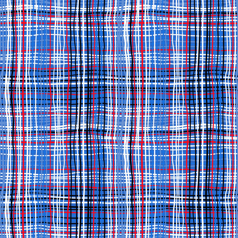 Bold plaid pattern with thin brushstrokes royalty free illustration