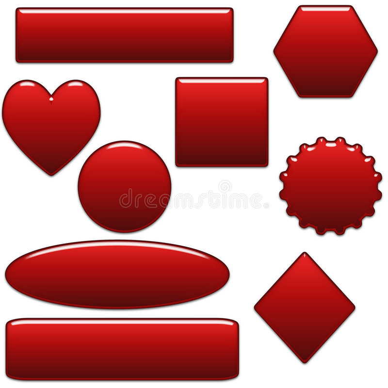 Bold Red Blank Website Buttons And Shapes vector illustration