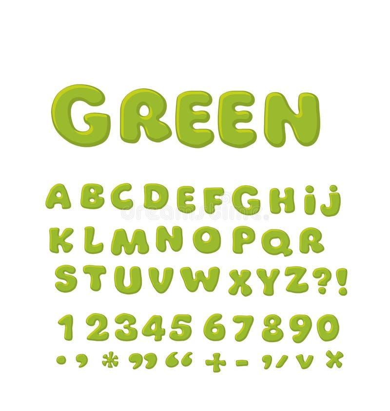 Bold soft font abc, rounded type stock illustration
