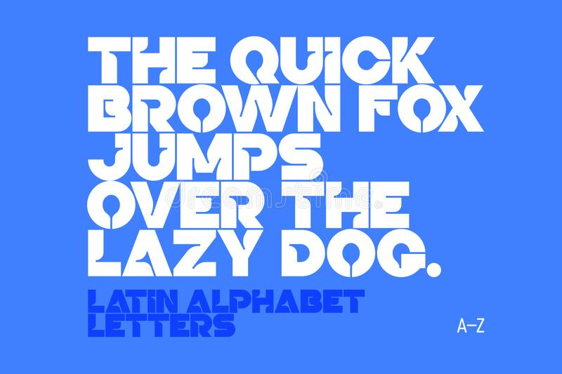 Bold style modern font. A-Z letters. The quick brown fox jumps over the lazy dog. Latin alphabet letters stock illustration