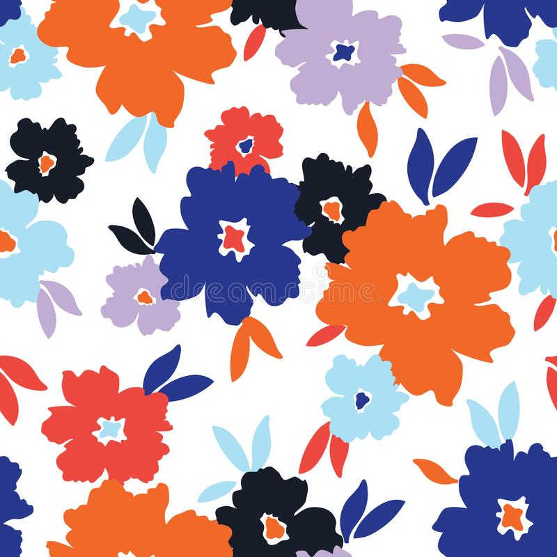Bold stylized colorful flowers on white background vector seamless pattern. Colourful graphic large scale floral vector seamless pattern. Simplistic oversized royalty free illustration