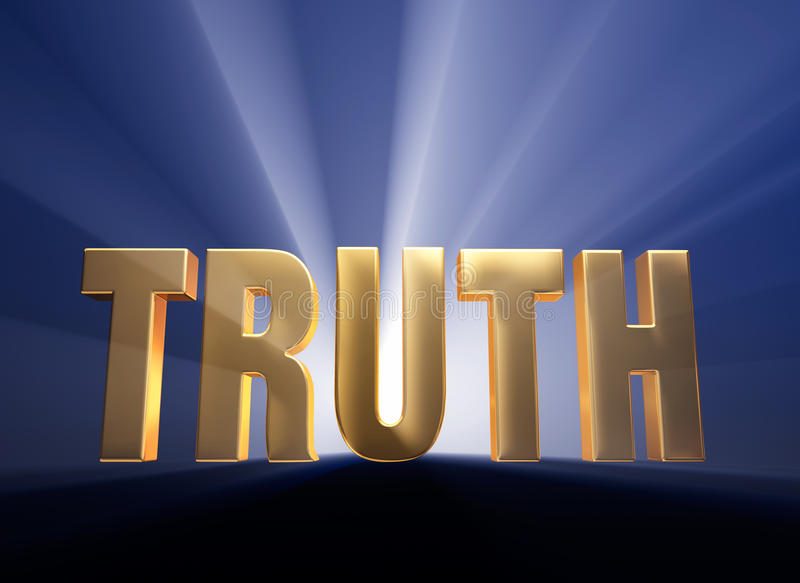 Bold Truth. Gold TRUTH on dark blue background brilliantly backlit with light rays shining through vector illustration