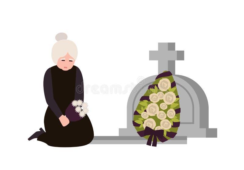 Boleściwa starsza kobieta ubierał w opłakiwać odzieżowego płacz blisko grób z headstone i wiankiem Smutny wdowi rozpaczać dalej royalty ilustracja