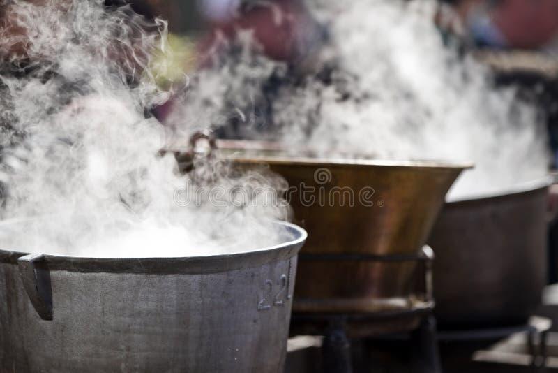 Boles. Some boles with soup on fire stock photos