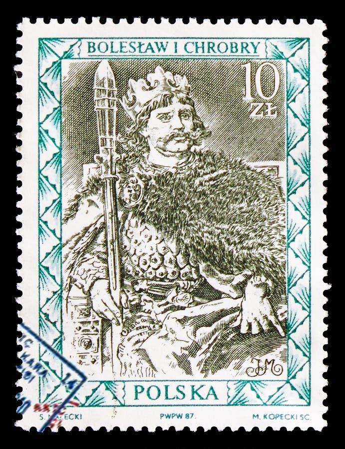 Boleslaw Ja Chrobry, portrety Polski władcy seria około 1987, zdjęcia royalty free