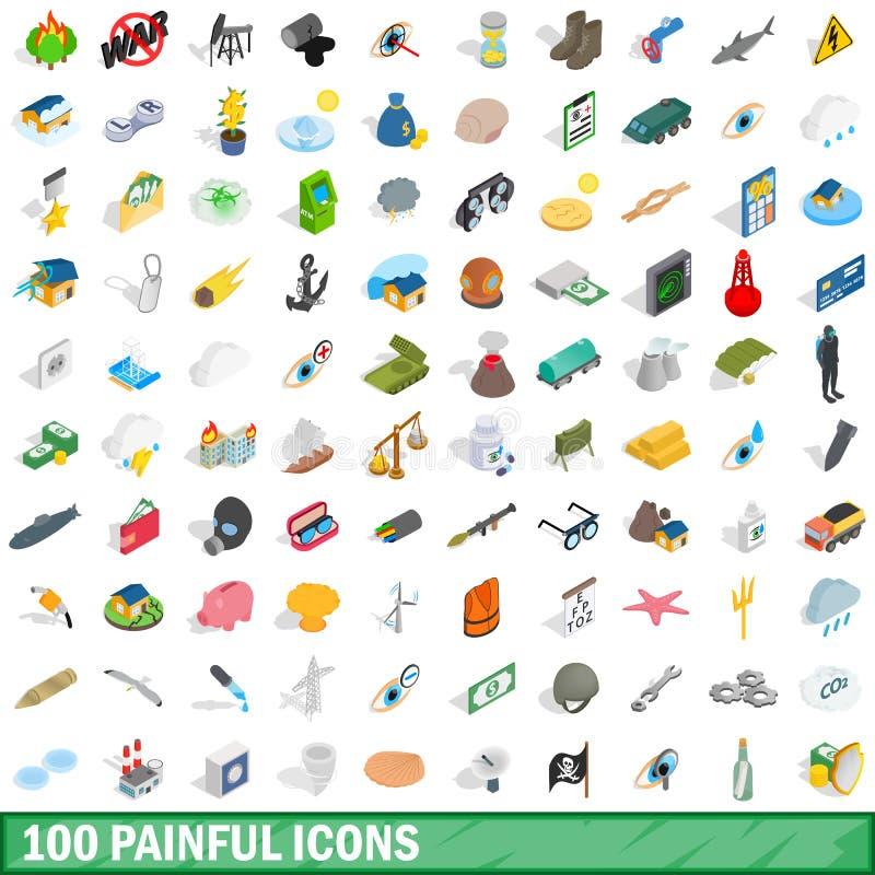 100 bolesnych ikon ustawiających, isometric 3d styl royalty ilustracja