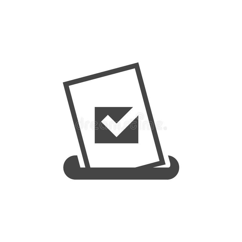 Boletín con la marca de verificación puesta en caja Icono de votación del glyph del documento Estudio de mercado, etiqueta bien e ilustración del vector