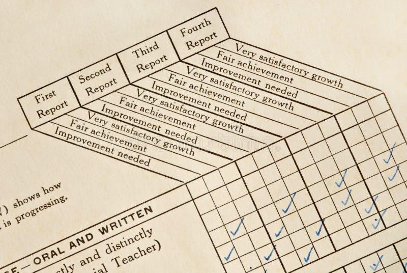 Boletín de notas imágenes de archivo libres de regalías