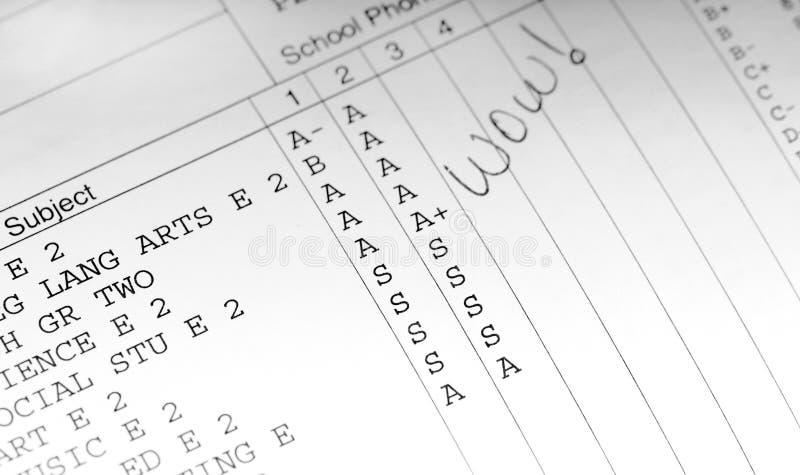 Boletín de notas de la escuela fotos de archivo libres de regalías