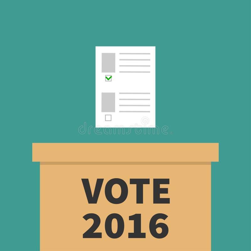 Boletín en blanco de papel de votación de la caja de la votación con concepto verde de la marca Colegio electoral ilustración del vector