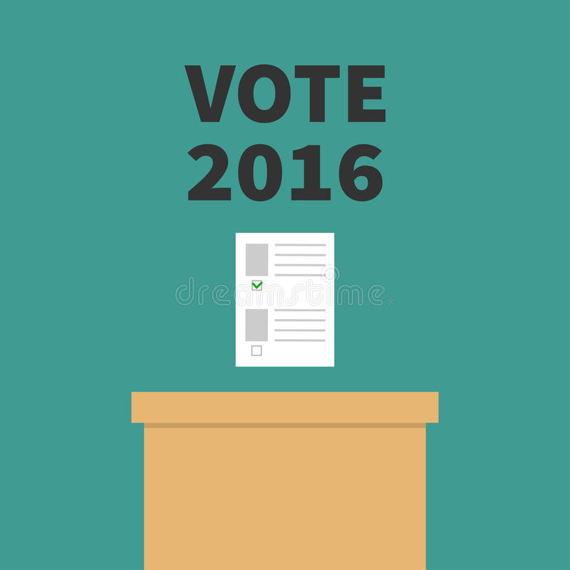 Boletín en blanco de papel de votación de la caja de la votación con concepto verde de la marca Colegio electoral Texto negro del ilustración del vector