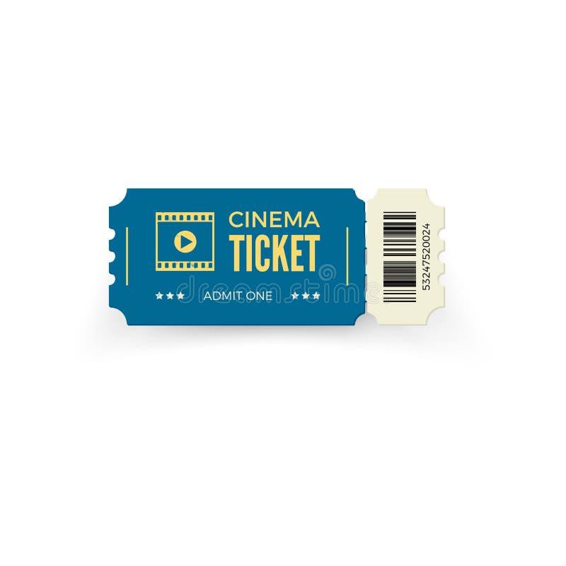 Boleto azul del cine aislado en el fondo blanco Plantilla realista del boleto del cine Ilustración del vector libre illustration
