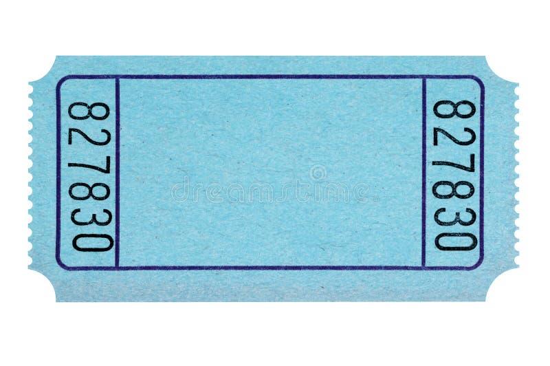 Boleto azul en blanco de la rifa aislado en llano blanco cortado imágenes de archivo libres de regalías