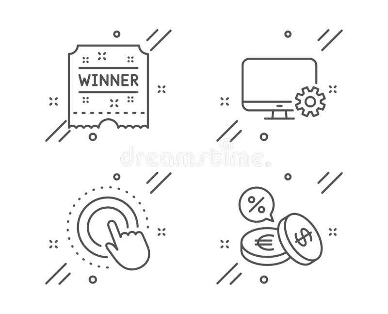 Boleto de la configuración de la pantalla, del ganador y sistema de los iconos de la mano del tecleo Muestra del intercambio de m ilustración del vector