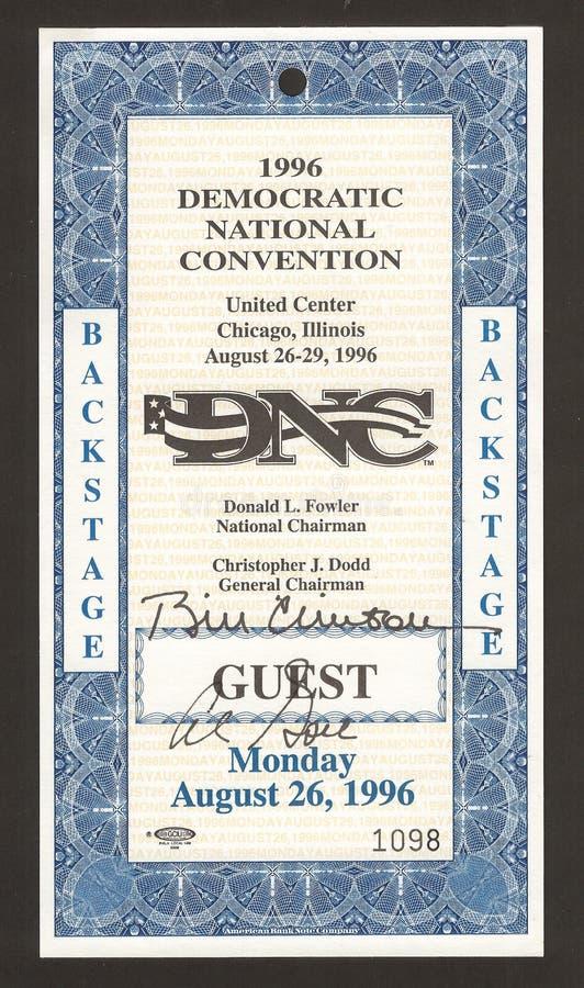 Boleto de la convención Democratic 1996 fotos de archivo libres de regalías