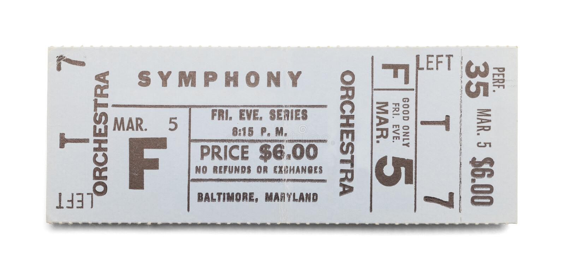 Boleto de la sinfonía imagen de archivo