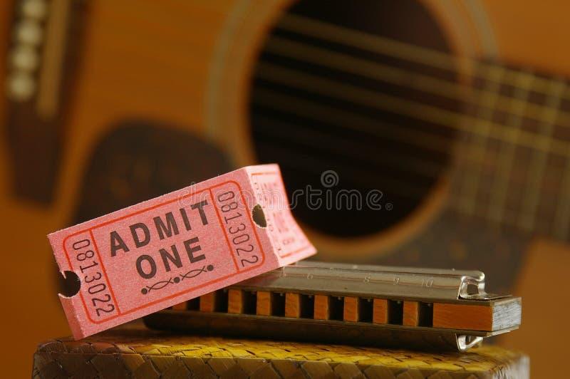 Boleto del concierto imagenes de archivo