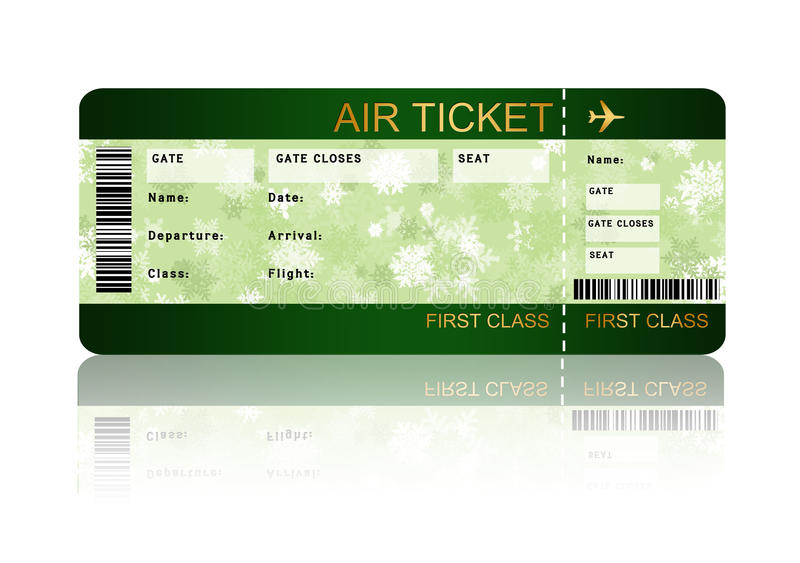 Boleto del documento de embarque de la línea aérea de la Navidad aislado sobre blanco