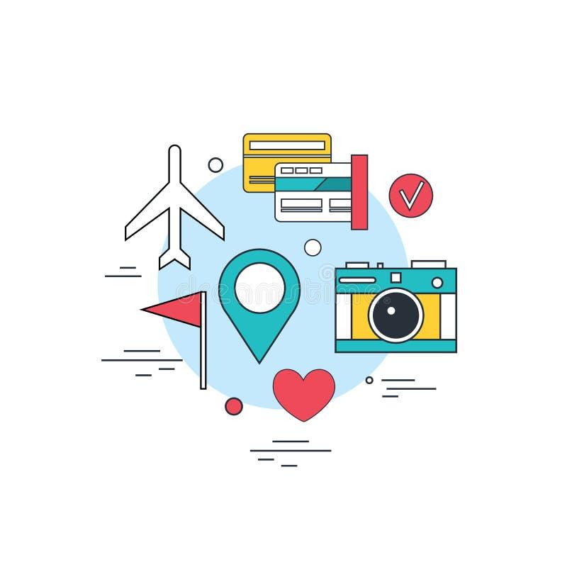 Boleto en línea del fondo de la tecnología del turismo del viaje que reserva la línea plana moderna stock de ilustración