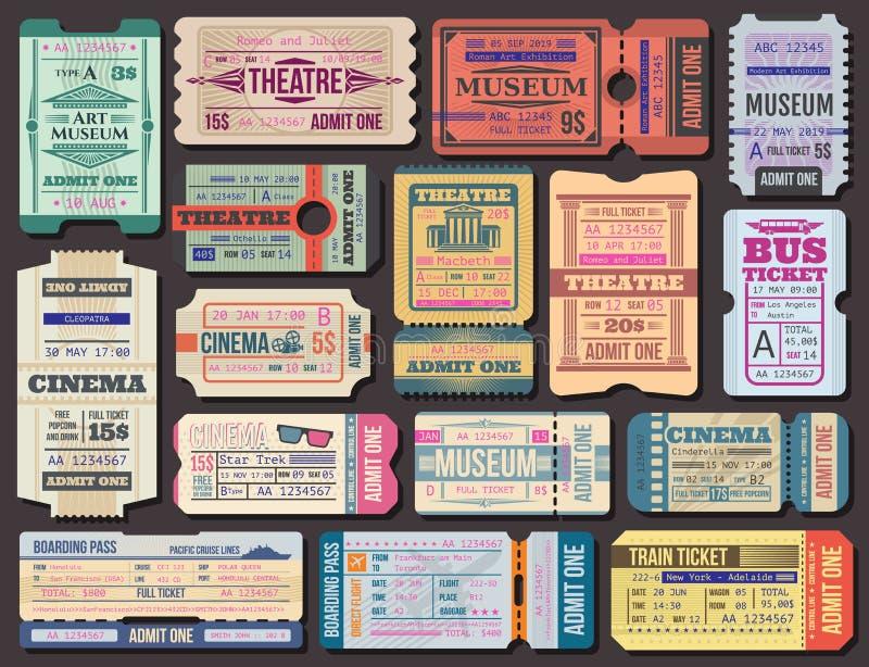 Boleto a las películas, al teatro o al museo, documento de embarque ilustración del vector