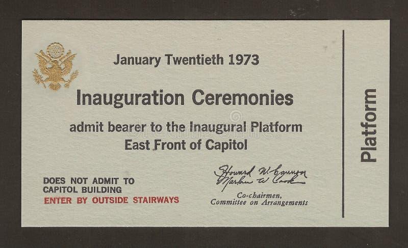 Boleto oficial a la inauguración Richard Nixon foto de archivo libre de regalías