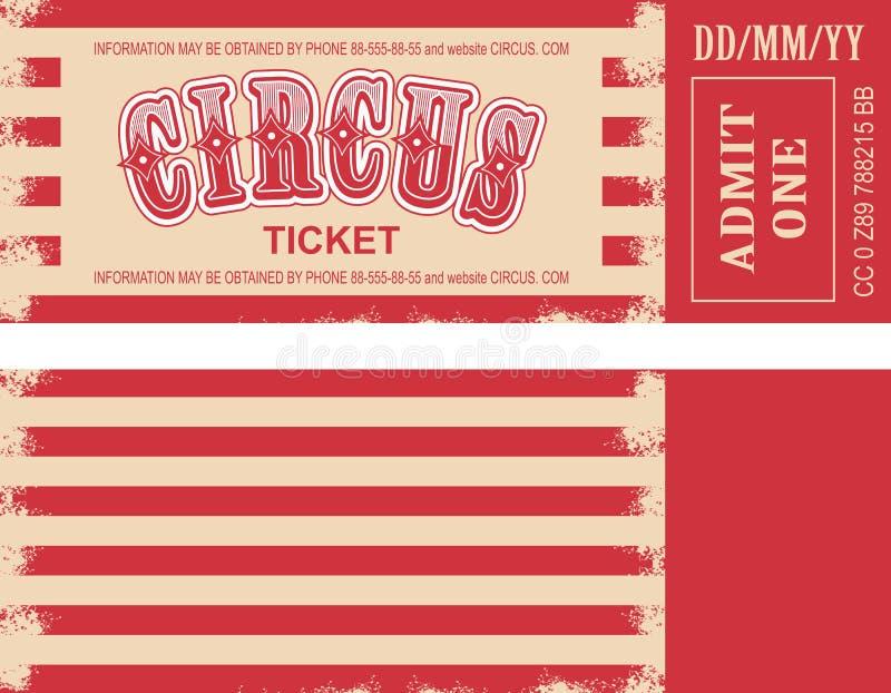 Boleto retro del circo ilustración del vector