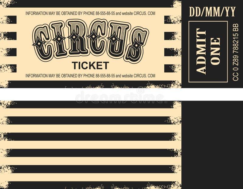 Boleto retro del circo stock de ilustración
